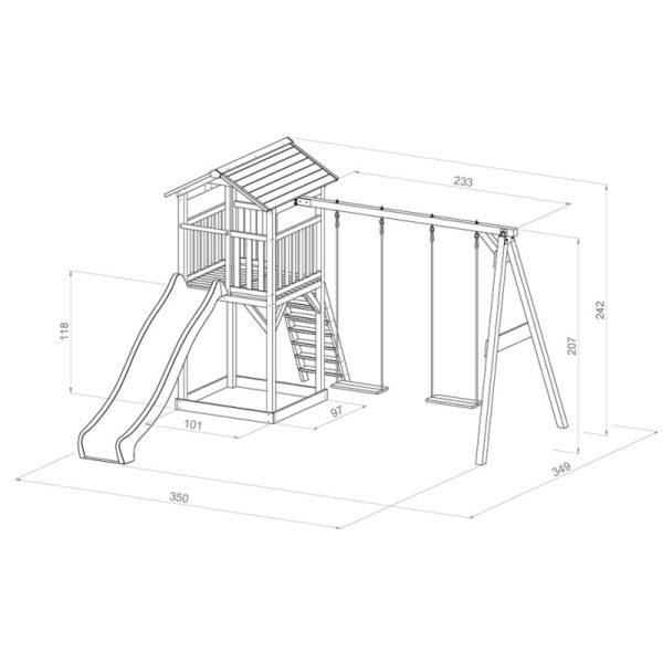 Afmetingen Sunny Strandtoren met 2 schommels